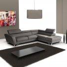 Sparta Dark Gray Italian Leather Sectional Sofa