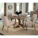 Florence Round Table and Beige Upholstered Chair Set