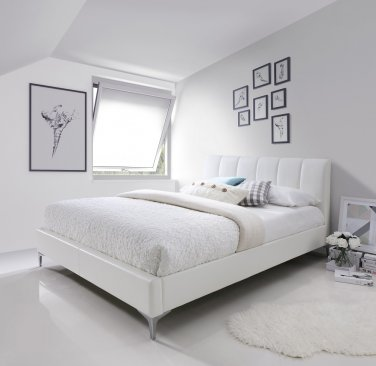 Leona King Size Bed in White Color by J&M