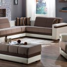 Moon Modern Sectional Sofa Bed, Chair and Ottoman in Platin Mustard Color