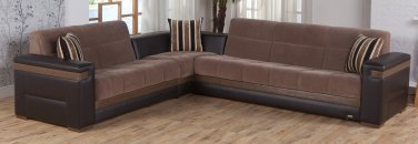 Moon Modern Sectional Sofa Bed, Chair and Ottoman in Troya Brown Color