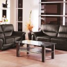 Sienna Black Leather 2pc Sofa Set Sofa and Loveseat