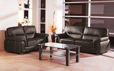 Sienna Black Leather 2pc Sofa Set Sofa and Loveseat