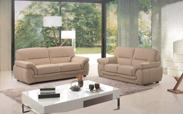 Sienna Beige Leather 2pc Sofa Set Sofa and Loveseat