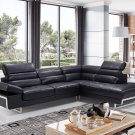 2347 Black Half Leather Sectional