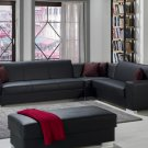Kobe 3pc Modular Sectional Sofa Bed with Storage in Black PU