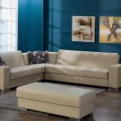 Kobe 3pc Modular Sectional Sofa Bed with Storage in Cream PU
