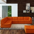 Lego 7pc Set In Pumpkin Leather Sectional