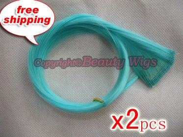 "High Quality Clip In Silky Straight 18"" Hair Extensions for two pcs--Ice Blue~available now~"