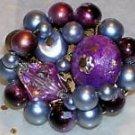 Purple Gray Bead Clip On Costume Earrings Marked Japan...10024