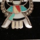 Vintage Kachina Thunderbird Coral Turquioise Onix MOP Inlay RING SIZE 6.5