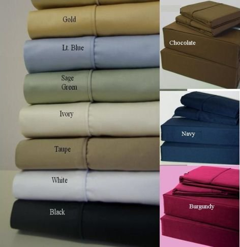 Cal King Size Deep Pocket Black Fitted Sheet 600TC 100% Egyptian Cotton