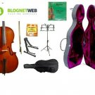 Merano 4/4 (Full) Size Cello with Hard Case, Bag and Bow+2 Sets of Strings+Pitch