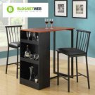 Counter Height Table Set 3 Piece Home Bar Pub Modern Black Bistro Chairs Dining