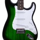 """Full Size 39"""" Inch Green Burst Electric Guitar Gig Bag, Strap, Cable, Direct"""