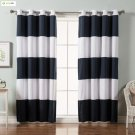 Best Home Fashion Rugby Stripe Cotton Blend Blackout Curtains - Stainless Steel