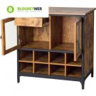 Wine Cabinet Kitchen Rustic Storage Buffet Vintage Country Sideboard Wood Pine