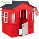 Kids Plastic Playhouse Cottage Red Children Indoor Outdoor Play House Toddler
