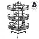 3 Tier Salon Style Black Metal Spinning Carousel Nail Polish Display Rack / Cosm