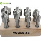 Accusize - HSS Corner Rounding End Mill Set Size from 1/16'' to 3/8'', 8 Pcs/Set
