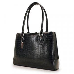 Black Faux Crocodile Milano Laptop Case & Tote Bag by Mobile Edge