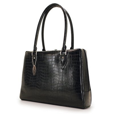 "Large Black Faux Crocodile Milano 17"" Laptop Case & Tote Bag by Mobile Edge"