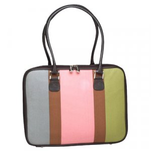 Pink Canvas Stripe Laptop Case by Mango Tango