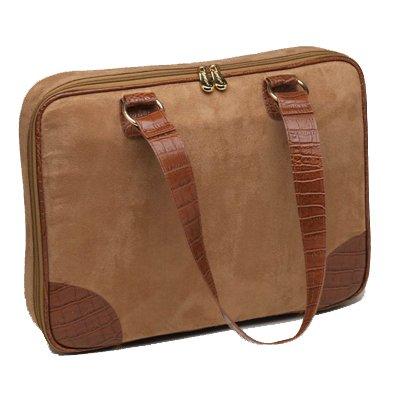 "Camel (Tan) Faux Suede Slim-Line 17"" Widescreen Laptop Bag by Mango Tango"