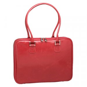Red Distressed Faux Leather Laptop Bag by Mango Tango