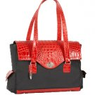 The Ives Laptop Bag in Crimson Leather (Red Mock Croc) by Frances & Grace