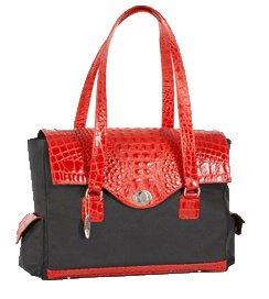 The Ives Laptop Bag in Crimson Leather (Red Mock Croc) by Frances & Grace