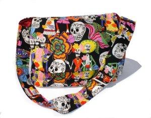 Colorful Dia De Los Muertos Day of the Dead Large Messenger Purse w/adjustable handles
