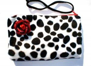 Dalmation faux fur pin-up wallet wristlet with rose rockabilly w/zipper Big enough 4 Make-up