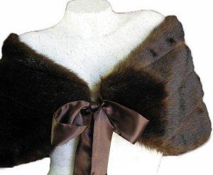 Brown FAUX Mink FUR BRIDAL WRAP SHAWL Capelet