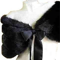 BLACK FAUX Mink FUR BRIDAL WRAP SHAWL Capelet