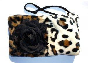 Leopard faux fur pin-up wallet wristlet with rose rockabilly w/zipper Big enough 4 Make-up
