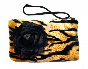 Tiger faux fur pin-up wallet wristlet with rose rockabilly w/zipper Big enough 4 Make-up