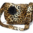 Leopard faux w/Flower Large Diaper bag, Messenger Purse w/adjustable handles