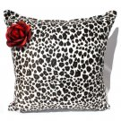 Leopard faux fur Pillow with Red rose