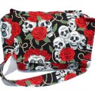 *  Skull & Roses Day of the Dead Large Messenger Purse w/adjustable handles