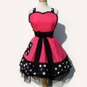 Pink Polka Dot Deluxe Full Apron