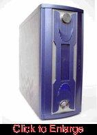Blue and Silver X-17 Designer Steel Gamer Case w/o Power Supply