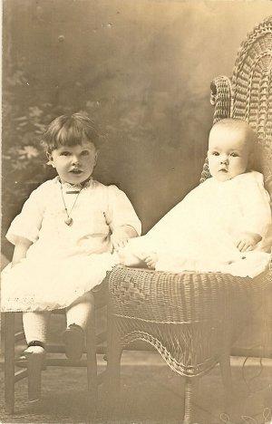 Vintage Photo Postcard Showing 2 Children