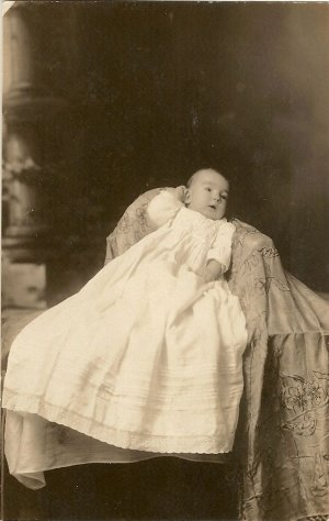 Vintage Photo Postcard Showing Baby in Christening Gown
