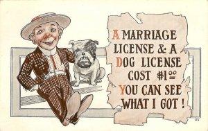 Vintage Comic  Postcard Marriage License  Versus Dog License