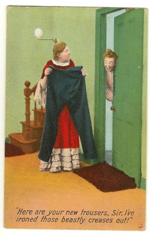 Vintage Comic  Bamforth Postcard New Trousers