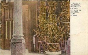 Color  Postcard  Pyramid of Crutches, Pilgrimage Church St. Anne de Beaupre  Quebec, Canada