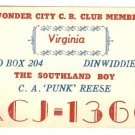 Radio Communication Card Wonder City C.B. Club Member