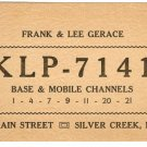 Radio Communication Card from Silver Creek N.Y.