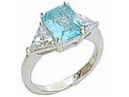Emerald / Trillion Cut Aqua CZ Ring